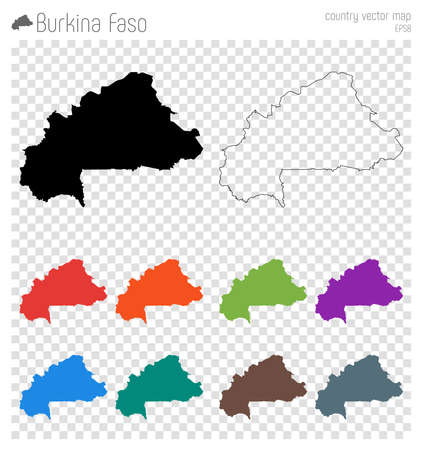 Burkina Faso high detailed map. Country silhouette icon. Isolated Burkina Faso black map outline. Vector illustration.