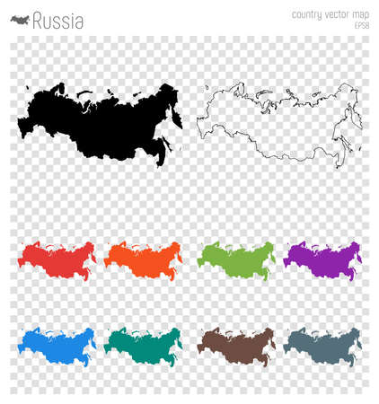 Russia high detailed map. Country silhouette icon. Isolated Russia black map outline. Vector illustration.