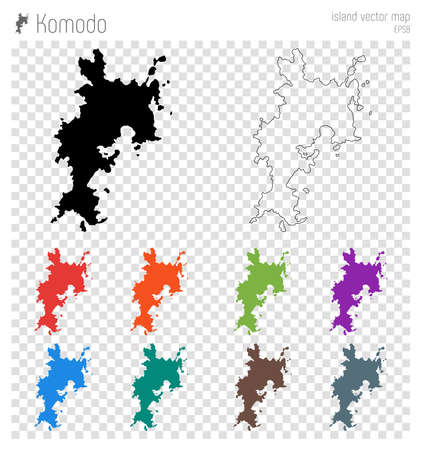 Komodo high detailed map. Island silhouette icon. Isolated Komodo black map outline. Vector illustration.