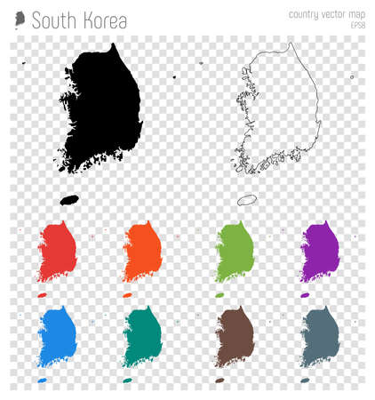 South Korea high detailed map. Country silhouette icon. Isolated South Korea black map outline. Vector illustration. Illustration