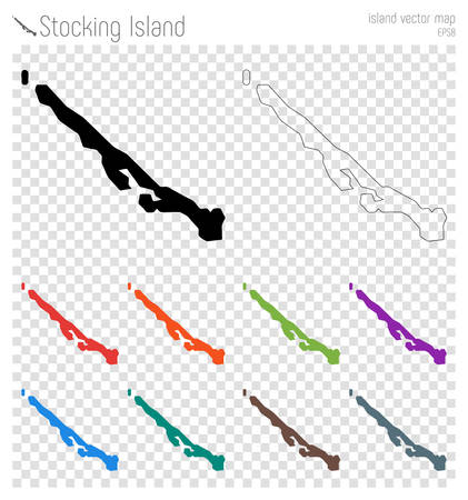 Stocking Island high detailed map. Island silhouette icon. Isolated Stocking Island black map outline. Vector illustration.
