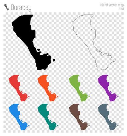Boracay high detailed map. Island silhouette icon. Isolated Boracay black map outline. Vector illustration.