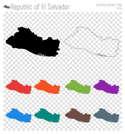 Republic of El Salvador high detailed map. Country silhouette icon. Isolated Republic of El Salvador black map outline. Vector illustration.