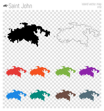 Saint John high detailed map. Island silhouette icon. Isolated Saint John black map outline. Vector illustration. Çizim