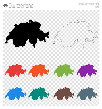 Switzerland high detailed map. Country silhouette icon. Isolated Switzerland black map outline. Vector illustration. Illustration
