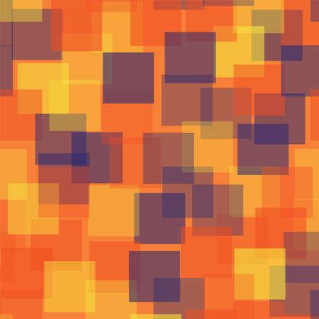 Abstract squares pattern. Orange geometric background. Fair random squares. Geometric chaotic decor. Vector illustration.