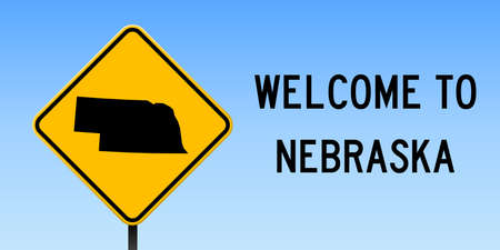 Nebraska map on road sign. Wide poster with Nebraska us state map on yellow rhomb road sign. Vector illustration. 일러스트