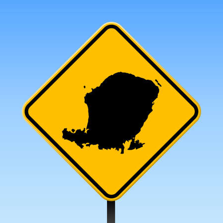 Lombok map on road sign. Square poster with Lombok island map on yellow rhomb road sign. Vector illustration.