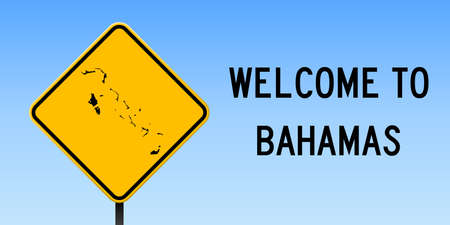 Bahamas map on road sign. Wide poster with Bahamas country map on yellow rhomb road sign. Vector illustration.