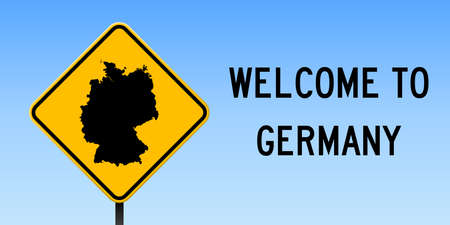 Germany map on road sign. Wide poster with Germany country map on yellow rhomb road sign. Vector illustration.