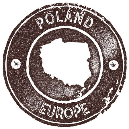 Poland map vintage stamp. Retro style handmade label, badge or element for travel souvenirs. Brown rubber stamp with country map silhouette. Vector illustration.