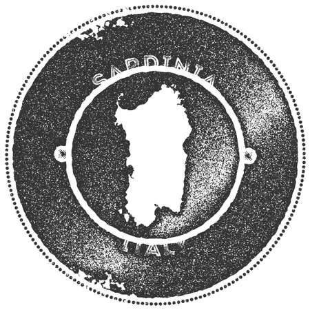 Sardinia map vintage stamp. Retro style handmade label, badge or element for travel souvenirs. Dark grey rubber stamp with island map silhouette. Vector illustration.