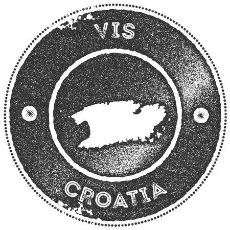 Vis map vintage stamp. Retro style handmade label, badge or element for travel souvenirs. Dark grey rubber stamp with island map silhouette. Vector illustration. Illustration