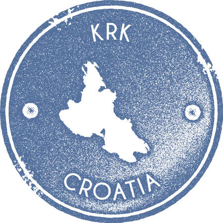 Krk map vintage stamp. Retro style handmade label, badge or element for travel souvenirs. Light blue rubber stamp with island map silhouette. Vector illustration.