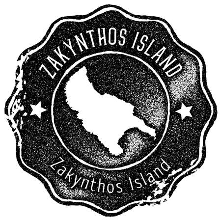 Zakynthos Island map vintage stamp. Retro style handmade label, badge or element for travel souvenirs. Black rubber stamp with island map silhouette. Vector illustration. Illustration