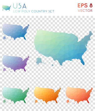 USA geometric polygonal maps, mosaic style country collection. Extra low poly style, modern design. USA polygonal maps for infographics or presentation. Illustration