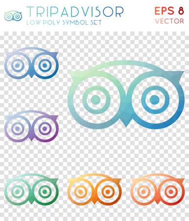 Tripadvisor geometric polygonal icons. Breathtaking mosaic style symbol collection. Alluring low poly style. Modern design. Tripadvisor icons set for infographics or presentation.