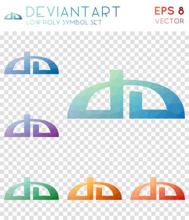 Icone poligonali geometriche Deviantart. Divertente collezione di simboli in stile mosaico. Potente stile low poly. Design moderno. Icone Deviantart impostate per infografica o presentazione.
