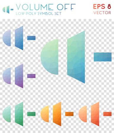 Volume off geometric polygonal icons. Brilliant mosaic style symbol collection. Favorable low poly style. Modern design. Volume off icons set for infographics or presentation. Vektoros illusztráció