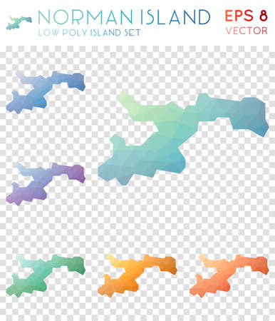 Norman Island geometric polygonal maps, mosaic style island collection. Energetic low poly style, modern design. Norman Island polygonal maps for infographics or presentation.