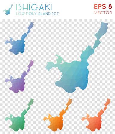 Ishigaki geometric polygonal maps, mosaic style island collection. Surprising low poly style, modern design. Ishigaki polygonal maps for infographics or presentation.  イラスト・ベクター素材