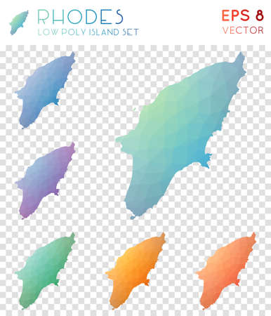 Rhodes geometric polygonal maps, mosaic style island collection. Graceful low poly style, modern design. Rhodes polygonal maps for infographics or presentation. Vettoriali