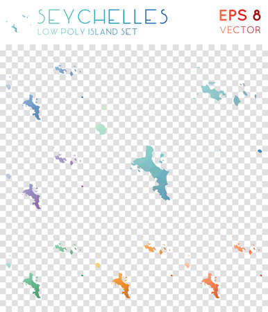 Seychelles geometric polygonal maps, mosaic style island collection. Modern low poly style, modern design. Seychelles polygonal maps for infographics or presentation.