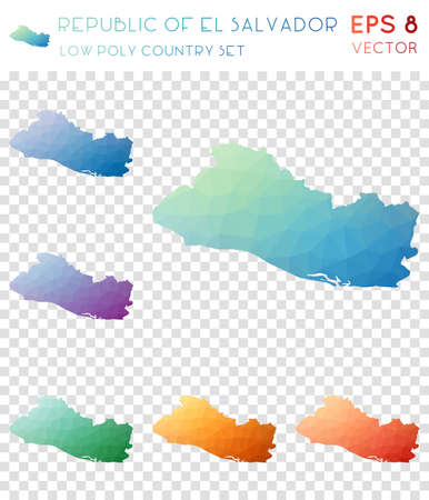 Republic of El Salvador geometric polygonal maps, mosaic style country collection. Captivating low poly style, modern design. Republic of El Salvador polygonal maps for infographics or presentation.