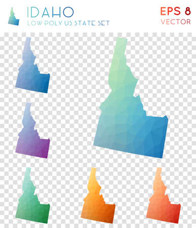Idaho geometric polygonal maps, mosaic style us state collection. Cool low poly style, modern design. Idaho polygonal maps for infographics or presentation.