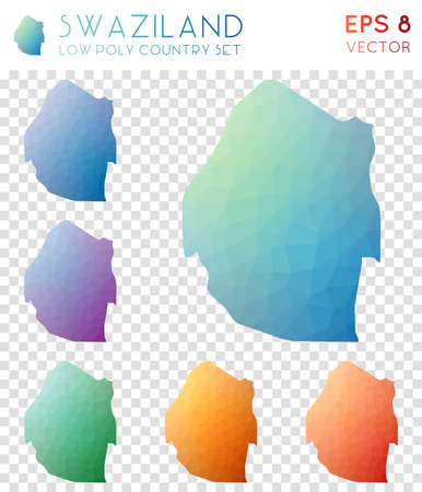 Swaziland geometric polygonal maps, mosaic style country collection. Dazzling low poly style, modern design. Swaziland polygonal maps for infographics or presentation. Illusztráció