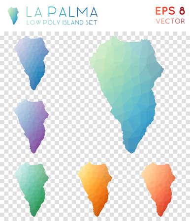 La Palma geometric polygonal maps, mosaic style island collection. Awesome low poly style, modern design. La Palma polygonal maps for infographics or presentation.
