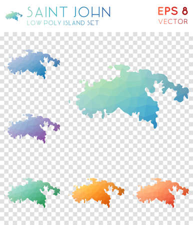 Saint John geometric polygonal maps, mosaic style island collection. Imaginative low poly style, modern design. Saint John polygonal maps for infographics or presentation.