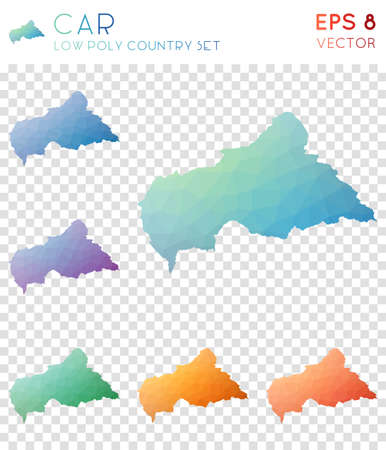 CAR geometric polygonal maps, mosaic style country collection. Curious low poly style, modern design. CAR polygonal maps for infographics or presentation. Stock Illustratie
