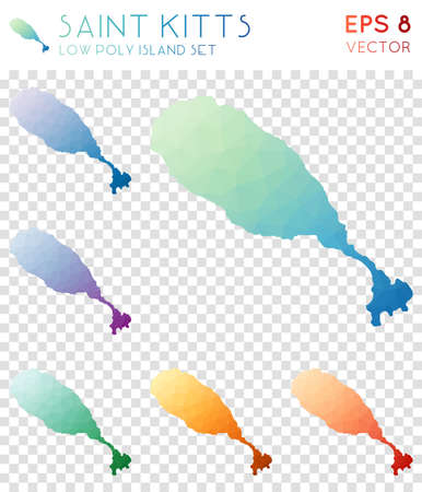 Saint Kitts geometric polygonal maps, mosaic style island collection. Immaculate low poly style, modern design. Saint Kitts polygonal maps for infographics or presentation. Illustration