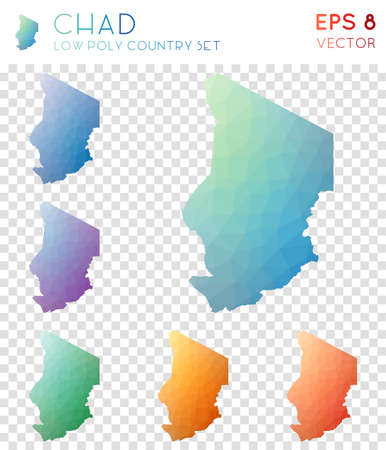 Chad geometric polygonal maps, mosaic style country collection. Delicate low poly style, modern design. Chad polygonal maps for infographics or presentation.