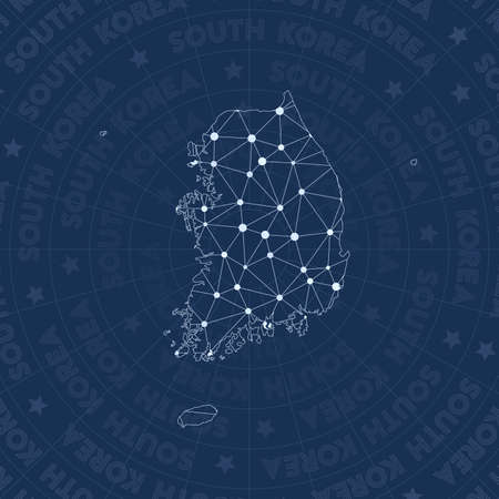 South Korea network, constellation style country map. Outstanding space style, modern design. South Korea network map for infographics or presentation.