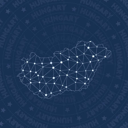 Hungary network, constellation style country map. Likable space style, modern design. Hungary network map for infographics or presentation.