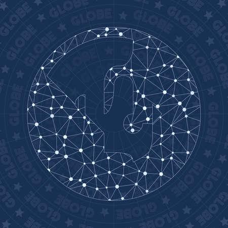 Globe network symbol. Alluring constellation style symbol. Appealing network style. Modern design. Globe symbol for infographics or presentation. Vector Illustratie