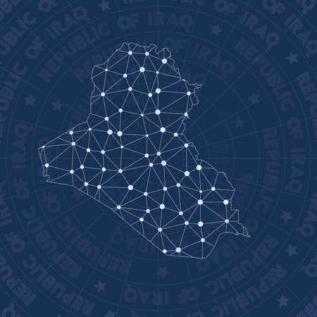 Réseau de la République d'Irak, carte du pays de style constellation. Style d'espace majestueux, design moderne. Carte du réseau de la République d'Irak pour infographie ou présentation. Vecteurs