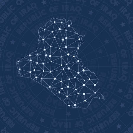 Republic of Iraq network, constellation style country map. Majestic space style, modern design. Republic of Iraq network map for infographics or presentation. Vektorové ilustrace