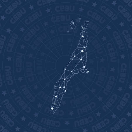 Cebu network, constellation style island map. Lovely space style, modern design. Cebu network map for infographics or presentation.