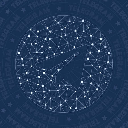 Telegram network symbol. Amusing constellation style symbol. Perfect network style. Modern design. Telegram symbol for infographics or presentation.