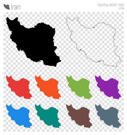 Iran high detailed map. Country silhouette icon. Isolated Iran black map outline. Vector illustration.