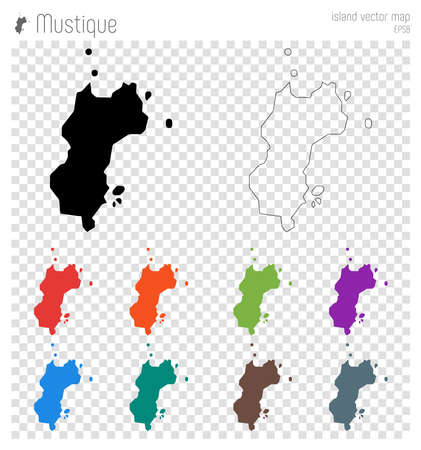 Mustique high detailed map. Island silhouette icon. Isolated Mustique black map outline. Vector illustration. Illustration
