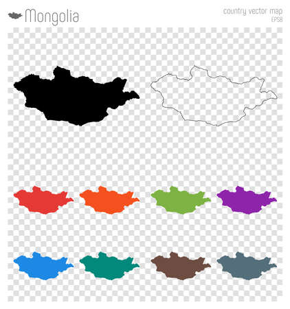 Mongolia high detailed map. Country silhouette icon. Isolated Mongolia black map outline. Vector illustration.
