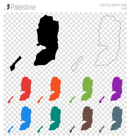 Palestine high detailed map. Country silhouette icon. Isolated Palestine black map outline. Vector illustration.