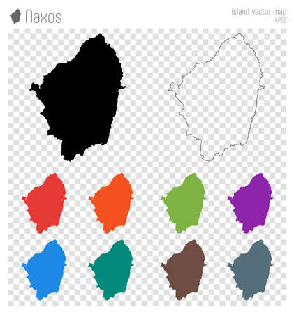 Naxos high detailed map. Island silhouette icon. Isolated Naxos black map outline. Vector illustration.