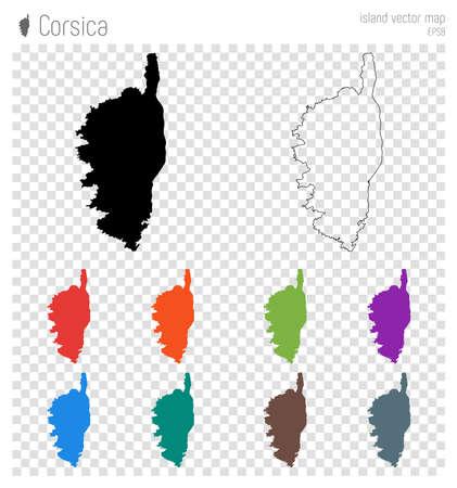 Korsika hoch detaillierte Karte. Inselschattenbildikone. Isolierte schwarze Kartenumriss Korsika. Vektorillustration.