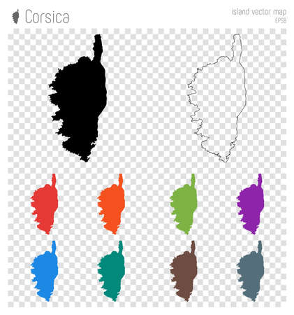 Corsica high detailed map. Island silhouette icon. Isolated Corsica black map outline. Vector illustration.