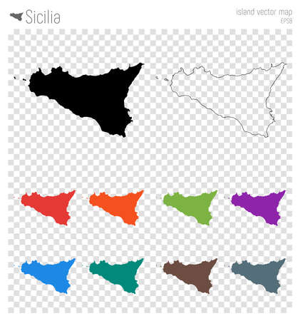 Sicilia high detailed map. Island silhouette icon. Isolated Sicilia black map outline. Vector illustration.